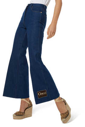 Washed Denim Flare Pants