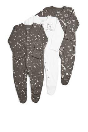 Space Sleepsuit, Set of Three