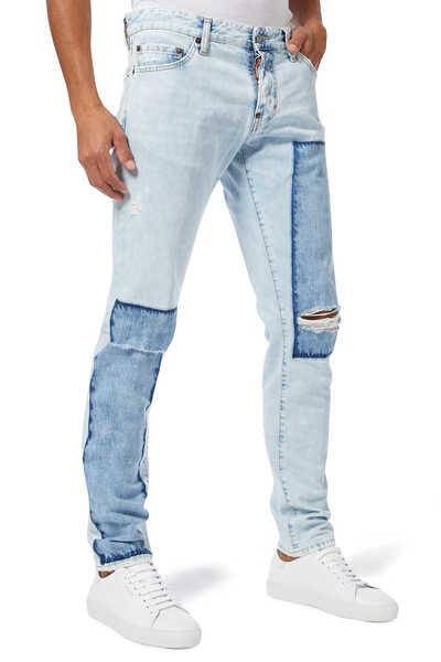 Light Dark Patch Wash Denim Jeans