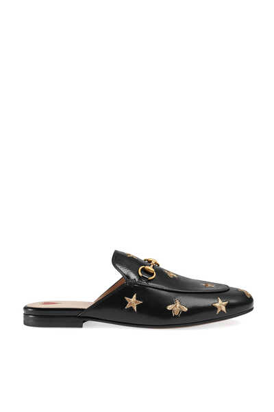 Princetown Embroidered Leather Mules