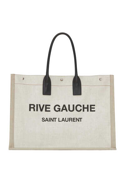 Rive Gauche Tote Bag in Linen & Leather