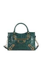 City S Crocodile-Effect Leather Mini Bag