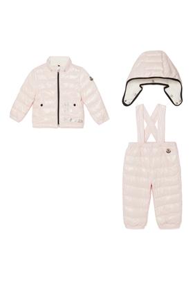 Puffer Jacket & Dungaree Set
