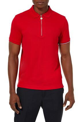 Red Tricolor Logo Zip Polo
