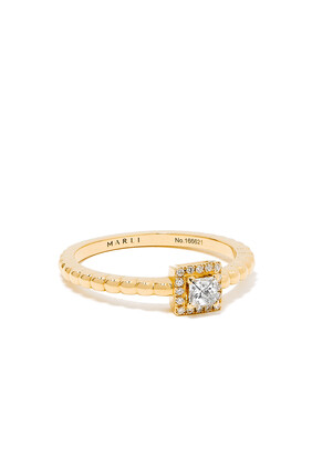 Rock Square Diamond Ring in 18kt Yellow Gold