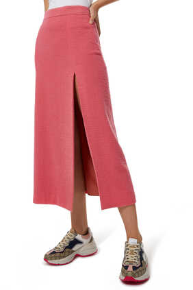 Wool Tweed Midi Skirt