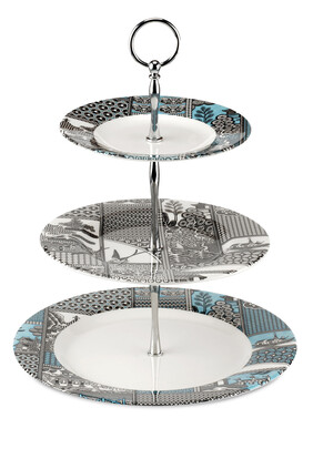 Spode Patchwork Willow 3 Tier Cake Stand