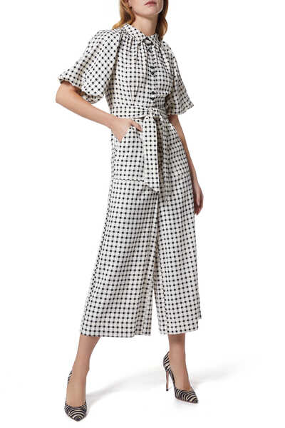 Inhale Checked Jumpsuit