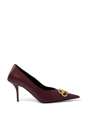 Square Knife Leather Pumps
