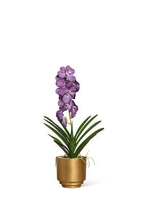 Artificial Vanda Arrangement in Gold Vase