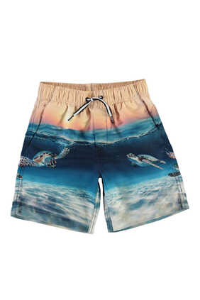 Beach and Sunset Print Swim Shorts
