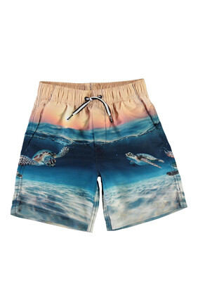 Beach and Sunset Print Swim Shorts
