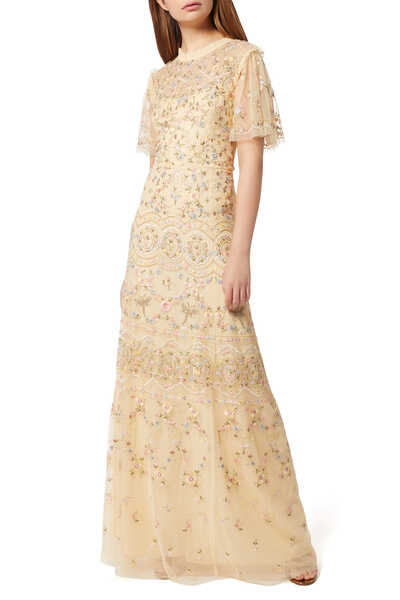 Sweet Petal Floral Embroidered Gown