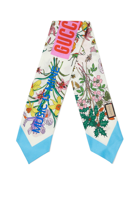 Gucci 100 Flora Print Twill Neck Bow