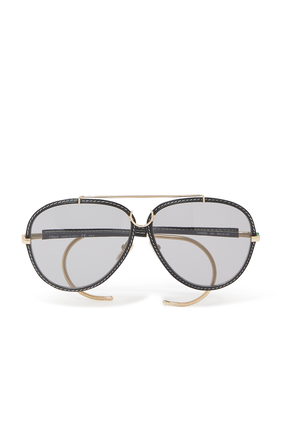 Metal and Leather Sunglasses