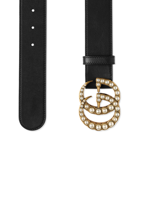 Pearl-Embellished Double G Leather Belt