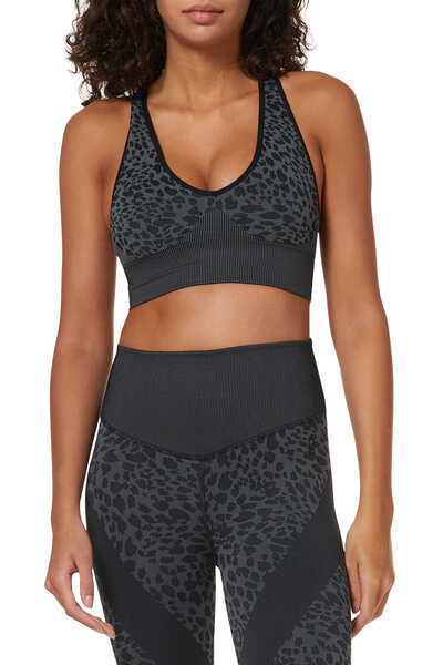 Leopard Jacquard Seamless Crop Top