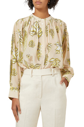 Foliage Print Silk Top