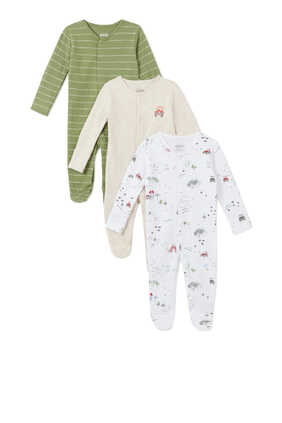 Tractor Sleepsuit, Set of Three