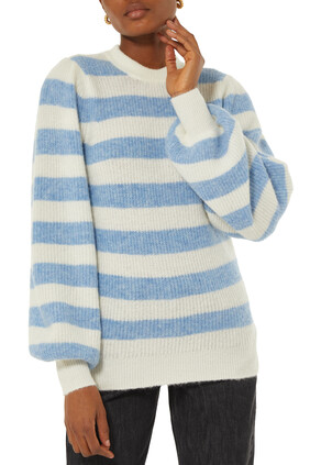 Wool Knit Striped Pullover