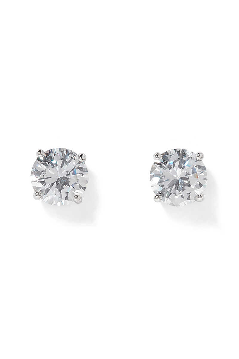 Classic Round Stone Stud Earrings image number 1