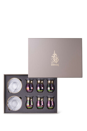 Aurora Tea Glass and Saucer, Set of 12