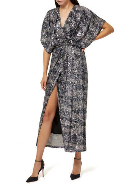 Madalya Camouflage Sequin Wrap Dress