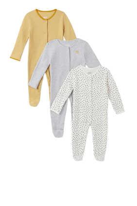 Stripe Spot Cotton Sleepsuit, Set of Three