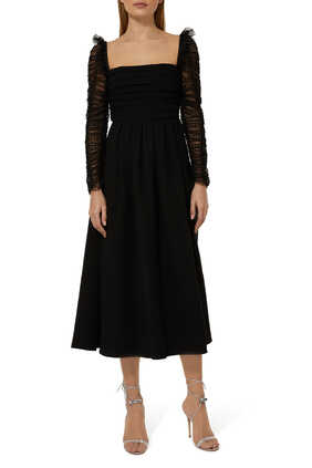Dot Mesh Sleeved Midi Dress