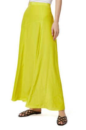 Asymmetric Drape Silk Skirt