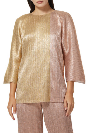 Metallic Pleated Top