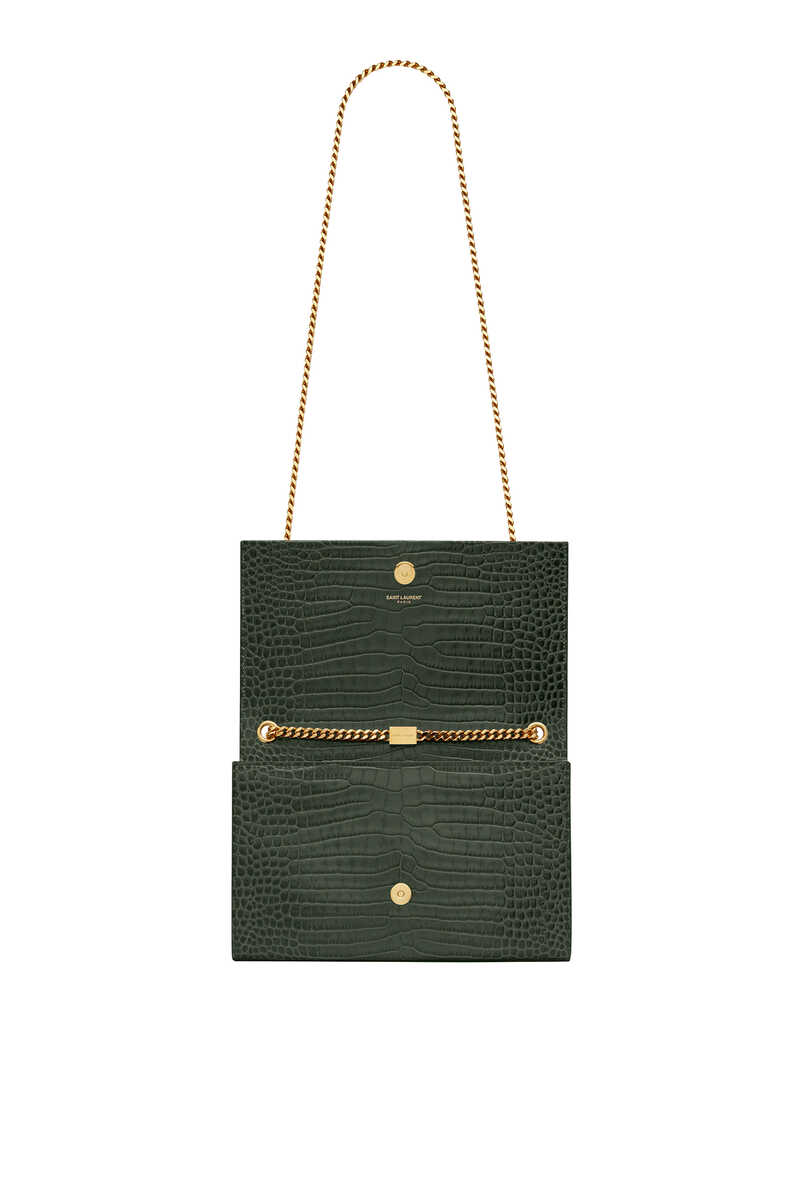 Kate Medium Tassel Chain Bag in Crocodile-Embossed Shiny Leather image thumbnail number 3