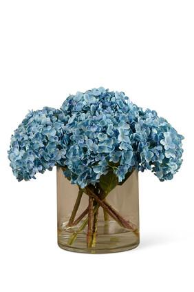 Artificial Hydrangea in Glass Vase