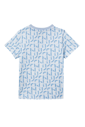 BB SS T-SHIRT W KENZO LETTERS ALL OVER:Blue:6M