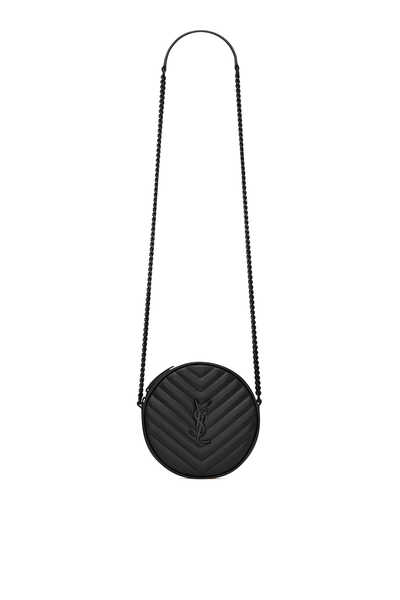 Vinyle Round Camera Bag in Chevron-Quilted Smooth Leather