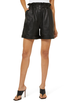 Rolled Leather Shorts