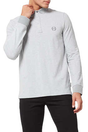 Circle Logo Stretch Cotton Polo Shirt