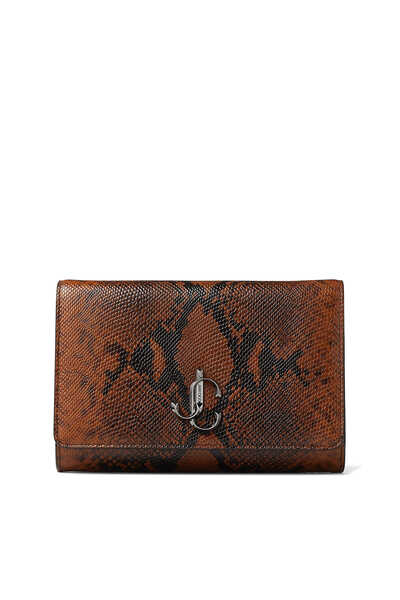 Cuoio and Ultra Black Snake Printed Leather Clutch Bag with Gunmetal JC logo Varenne Clutch