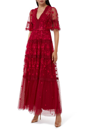 Lottie Embroidered Lace Gown