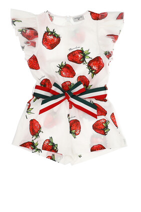 Strawberry Print Poplin Romper