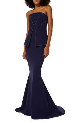 Strapless Crystal Embellished Gown
