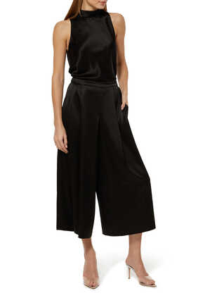 Tie Neck Satin Jumpsuit