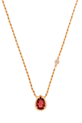 Serpent Bohème Diamond and Rhodolite XS Pendant Necklace
