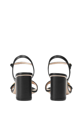 Logo Leather Mid-Heel Sandals