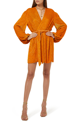Gabrielle Glitter Wrap Dress