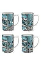 Spode Patchwork Willow Mugs, Set of 4