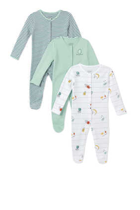 Fruit Cotton Sleepsuit, Set of Three