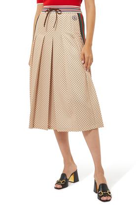G Print Pleated Skirt