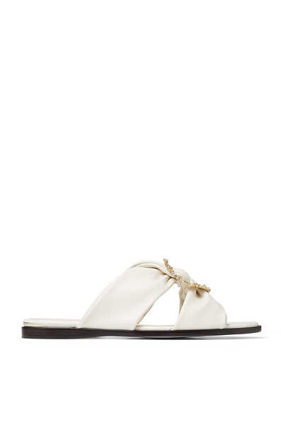 Latte Nappa Leather Flat Sandals with Jewelled Crystal Buckle Neda Flat