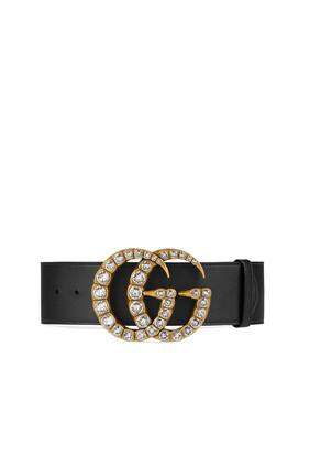 Wide Crystal Double G Buckle Belt